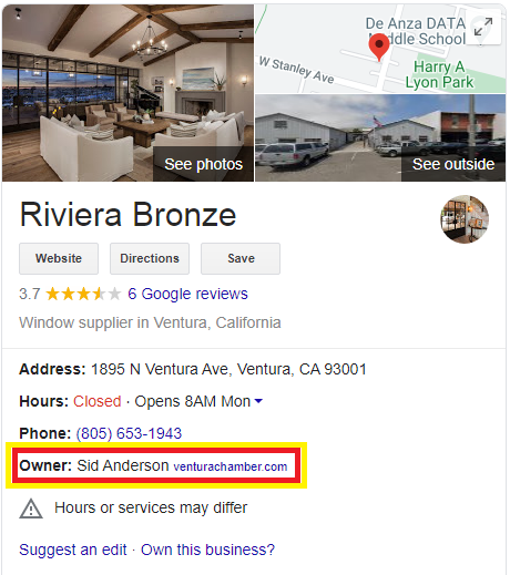 Google My Business Listing Showing Owners Name in the Knowledge Panel1