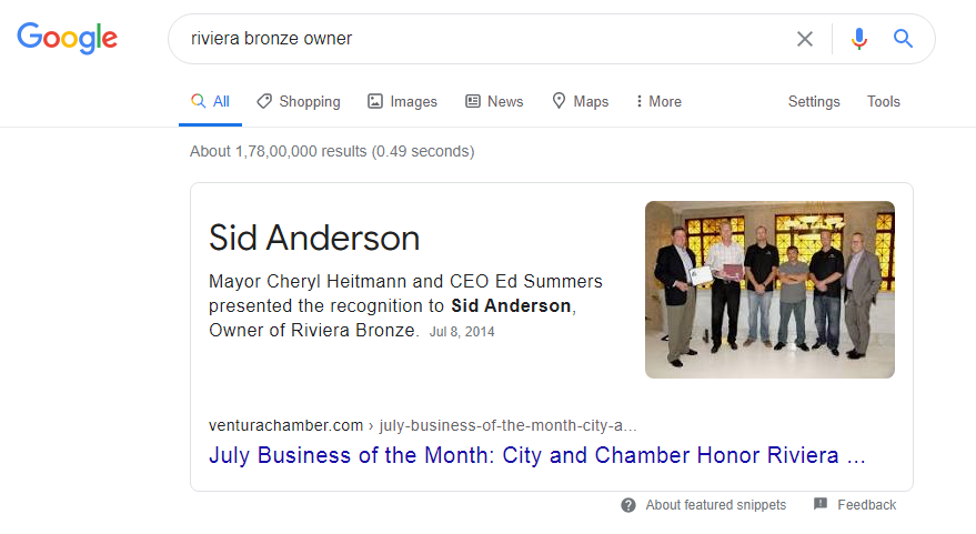 Google My Business Listing Showing Owners Name in the Knowledge Panel2