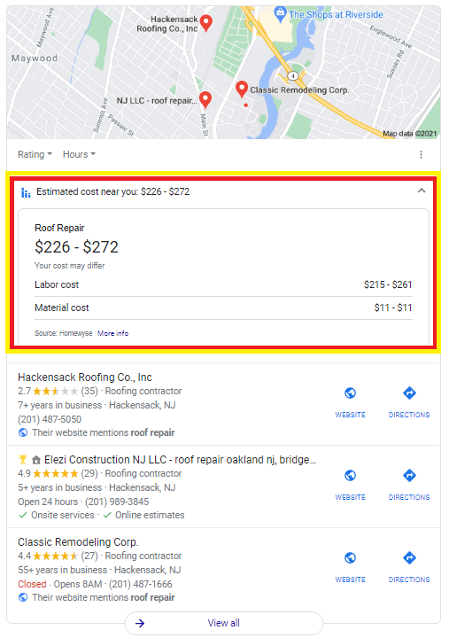 Google My Business Pack Testing Estimated cost near you For Provider Services